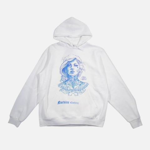 Tattooed Girl Hoodie Small / White Sweatshirt Norvine