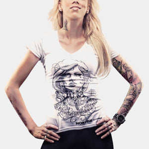 Tattooed Girl (Womens Deep V-Neck Tee) Tshirt-Women Norvine
