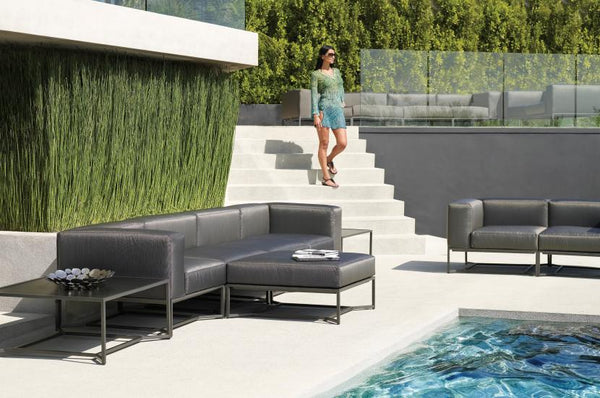 This stunning line includes a center unit, a corner unit and an ottoman  making endless variations possible, from a single chair to a large sofa to  a chaise ... - Gloster Outdoor Furniture - Bloc Collection Luxe Home Philadelphia