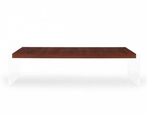 Objets Acrylic & Walnut Rectangular Cocktail Table - Bolier & Co.