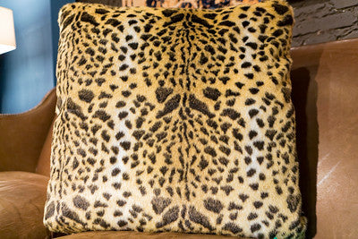Leopard Faux Fur Pillow 24x24 - Fabulous Furs
