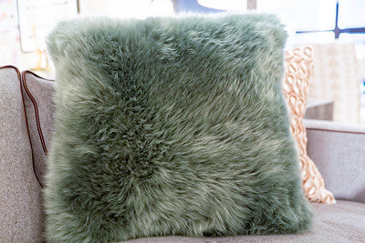 "Long Wool Evergreen Pillow 20"" x 20"" - Auskin"