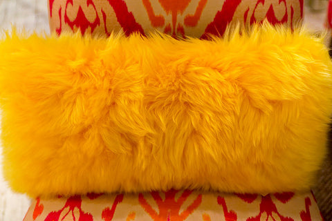 Long Wool Yellow Pillow 11