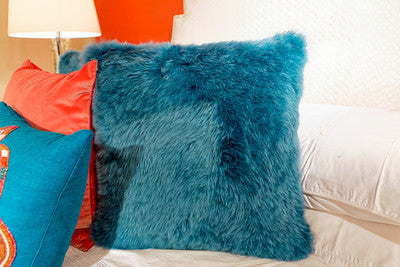 Long Wool Teal Pillow 20