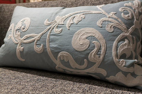 Blue Linen and Creme Embroidery Left Pillow - Callisto Home