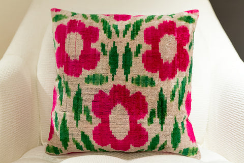 Pink Green Square Velvet - Found Object