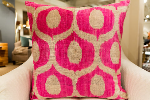 Gloria Pink Square Velvet Pillow - Found Object