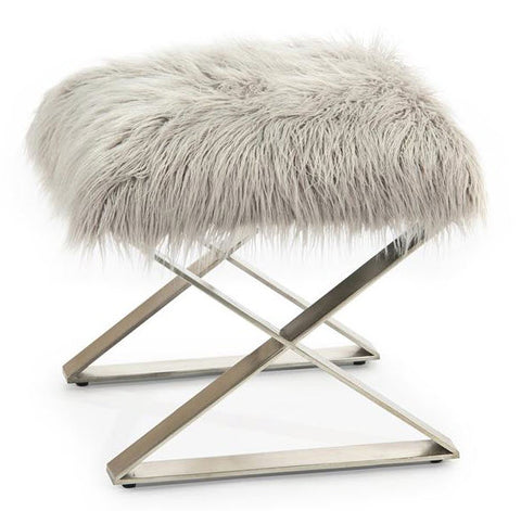 Fur and Steel Ottoman - John-Richard