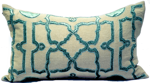 Natural Linen/Aqua Velvet Applique Pillow - Callisto Home