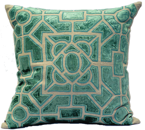 Natural Linen/Aqua Velvet Pillow - Callisto Home