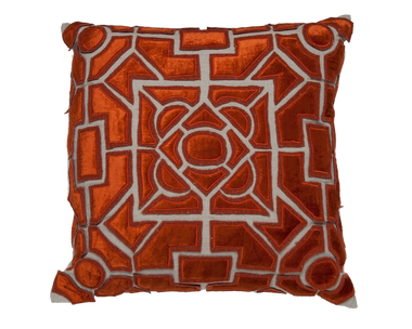 Jute Linen/Orange Pillow - Callisto Home
