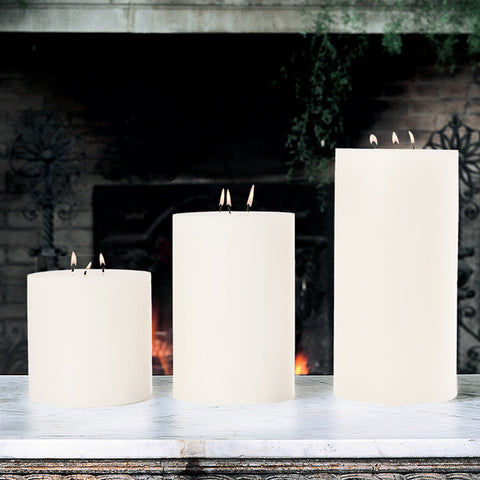3 Wick Pillar Candle Unscented 6X12 - Global Views
