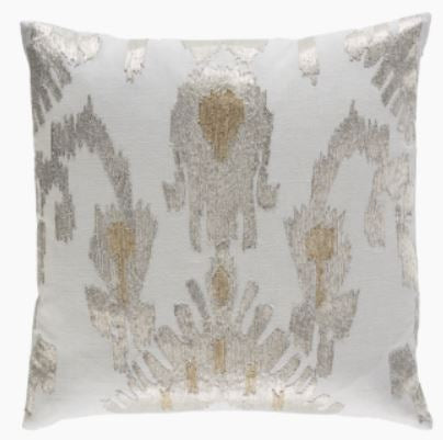 Creme Linen with Silver and Gold Embroidery Pillow 22 x 22 - Callisto Home