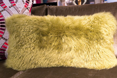 "Long Wool Lime Pillow 11"" x 22"" - Auskin"