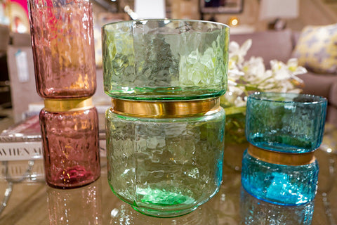 Lava Glass Vases, Green - Gold Leaf Design Group