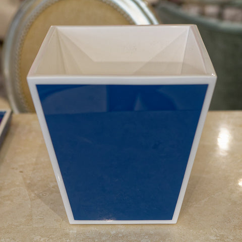 True Blue & White Waste Basket - Pacific Connections