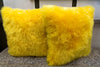 "Long Wool Yellow Pillow 20"" x 20"" - Auskin"