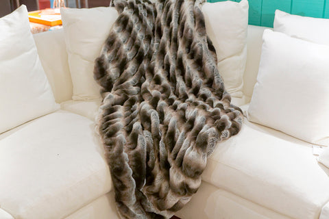 Grey Chinchilla Couture Faux Fur Throw - 60