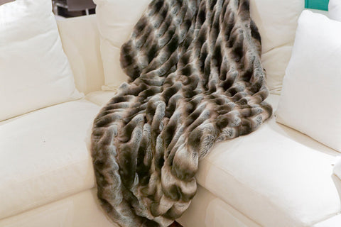 Grey Chinchilla Couture Faux Fur Throw - Fabulous Furs