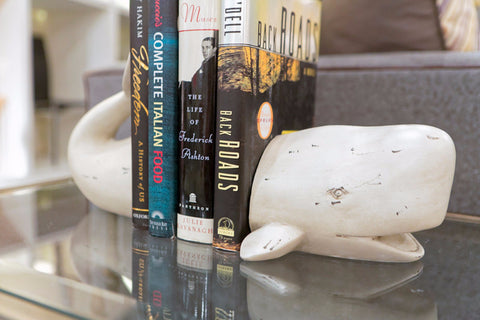 Whale Tale White Bookends - Two's Company