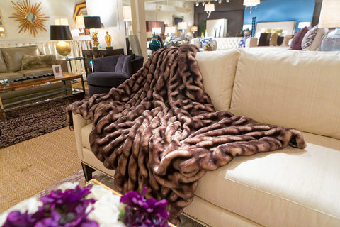 Shadow Mink Couture Faux Fur Throw - 60