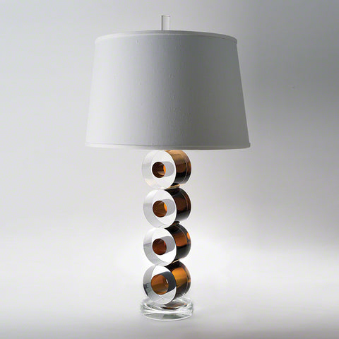 Leonardo Lamp Brown with Faux Silk Shade - Studio A