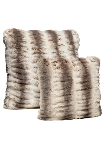 Truffle Chinchilla Faux Fur Pillow - Fabulous Furs