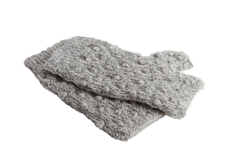 Aelita Fingerless Gloves Light Grey - Animana