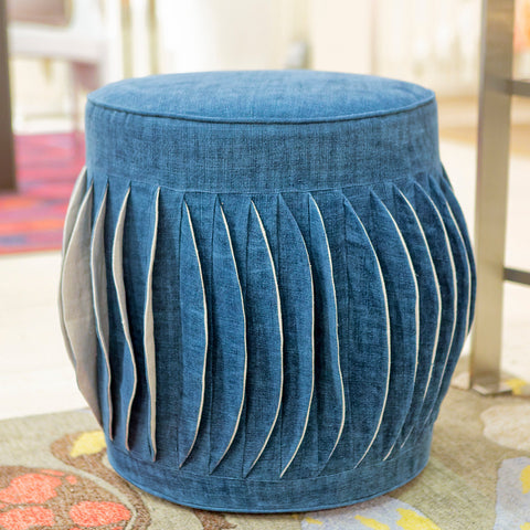 Aggie Pouf, Dark Blue - V Rugs & Home