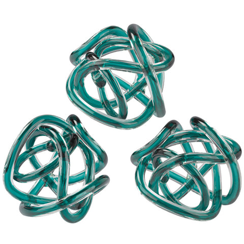 Aqua Glass Knot - Set of 3 - Dimond Home