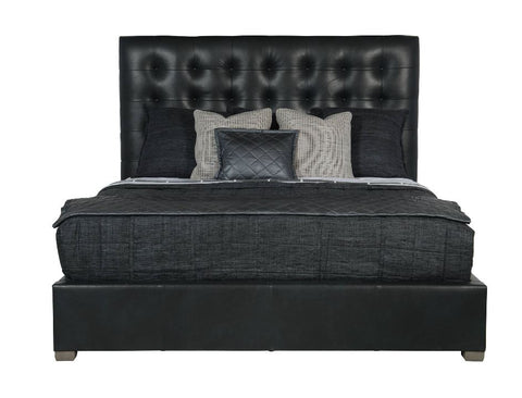 "Avery Leather Button-Tufted King Bed 66""H - Bernhardt Interiors"