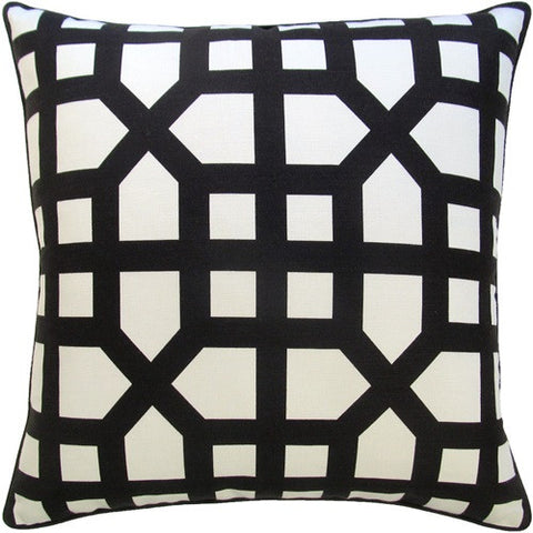 Avignon Trellis Pillow 22x22 - Black - Ryan Studio