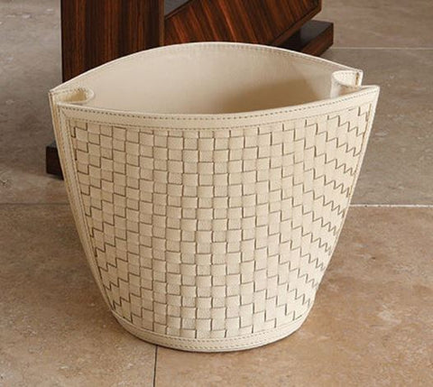 Woven Waste Basket, Ivory - Global Views