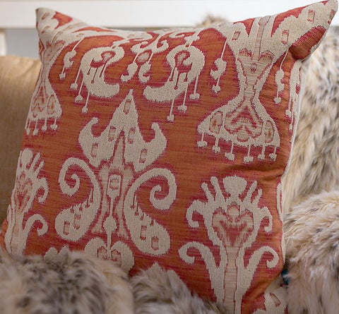 Ikat Orange Brocade Cream Beading - Callisto Home