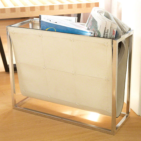 Beige Leather Magazine Caddy - Global Views