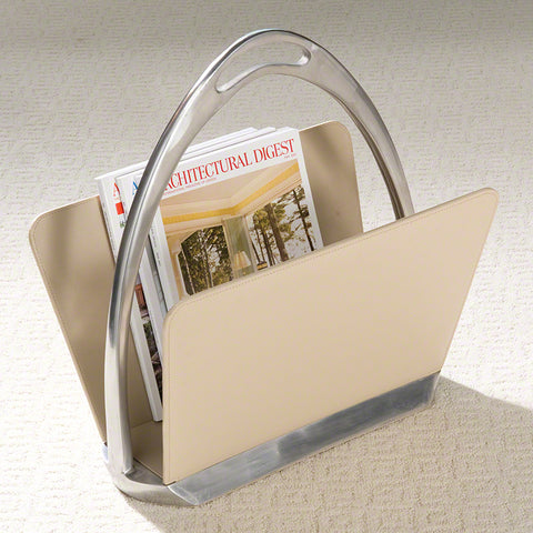 Beige Leather Stirrup Magazine Dump - Global Views