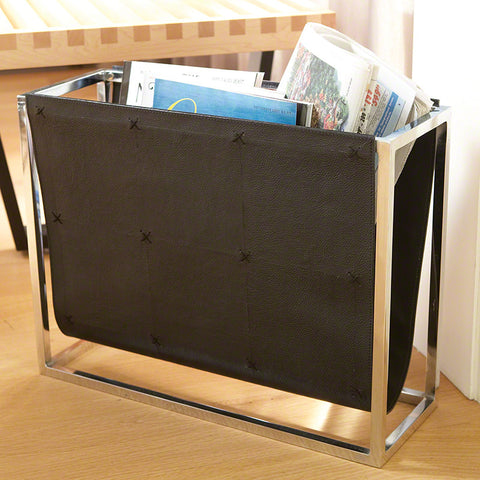Black Leather Magazine Caddy - Global Views
