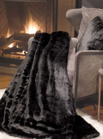 Black Mink Signature Faux Fur Throw - Fabulous Furs