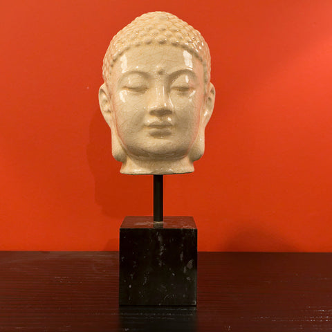 Buddha Head With Post On Marble - Emissary