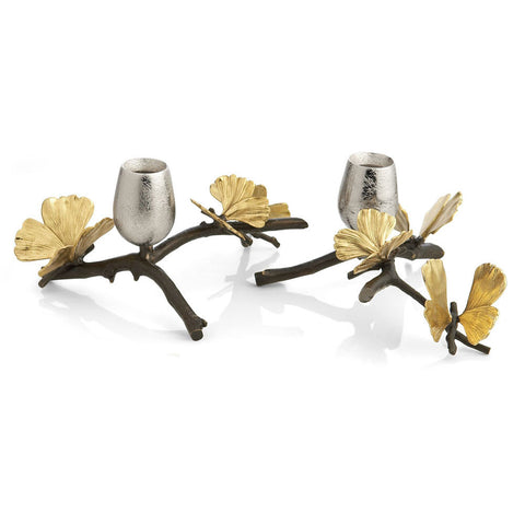 Butterfly Ginkgo Candle Holder Set of 2 - Michael Aram
