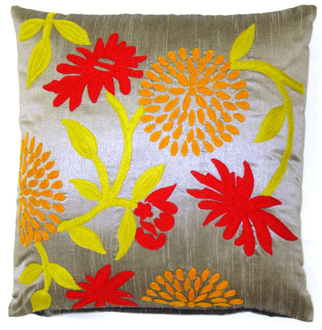 Whimsy Winter Garden Floral Pillow - Sabira Collection