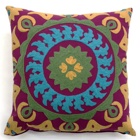 True Modern Pillows : Bright Suzani Modern Pillow - Sabira Collection Luxe Home Philadelphia