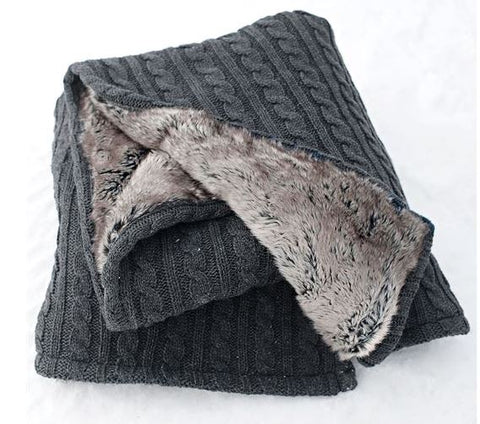 Cable Knit & Chinchilla Throw - Fabulous Furs
