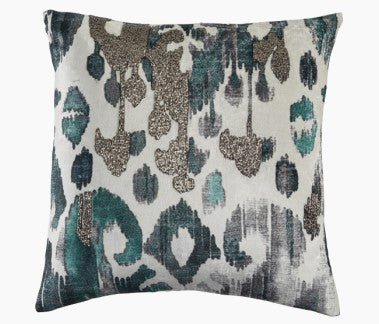 Creme Velvet with Turquoise Ikat Pillow 22 x 22 - Callisto Home