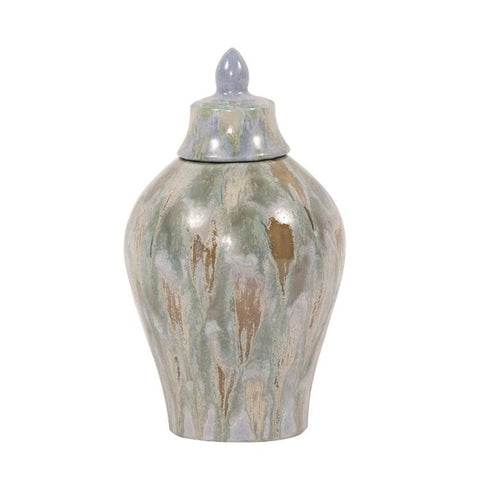 Celadon Dripped Ceramic Urn with Lid, Small - Howard Elliott