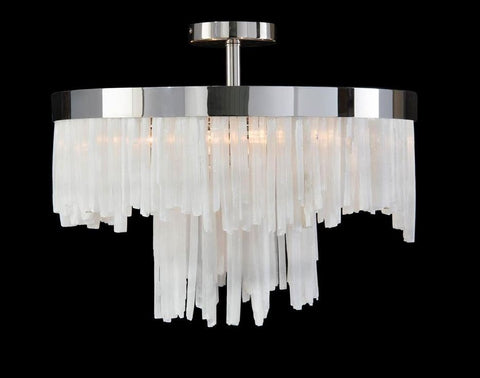 Selenite Two-Tiered Four-Light Pendant - John-Richard