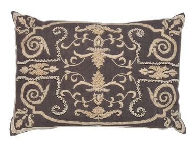 Charcoal Linen and Beige Embroidery Pillow - Callisto Home