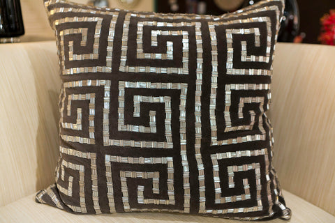 Charcoal Velvet and Silver Beads Pillow - Callisto Home