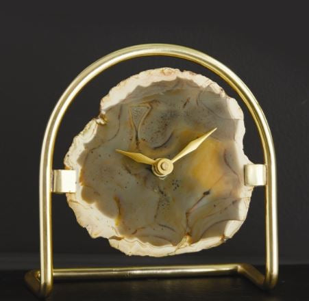 Agate Table Clock w/Gold Stand - Tozai