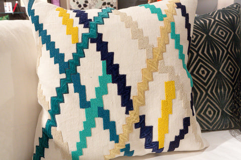 Cream, Blue, Yellow, Navy Zig Zag - Callisto Home